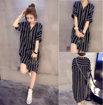 Women's Korean-style Loose Striped Short Sleeve Shirt Dress