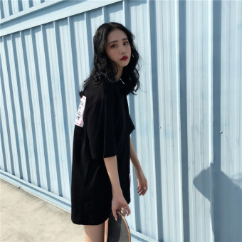 Women's Korean-style Short Sleeve Mid Length Loose T-Shirt (Black)