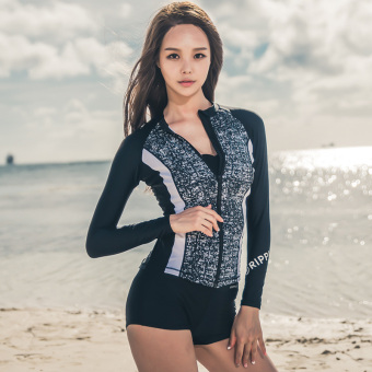 Women's Korean-style Sports Swimsuit with Zipper