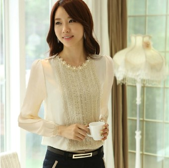 Women's short sleeved t-shirt chiffon shirt (Lace long-sleeved beige)
