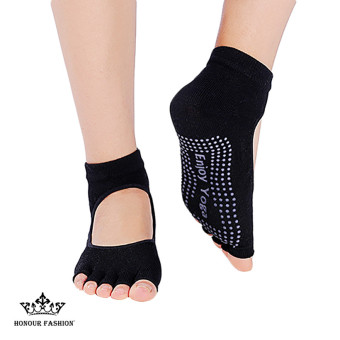Women's Anti-Slip Open-toe Backless Yoga Socks (Black) - Intl