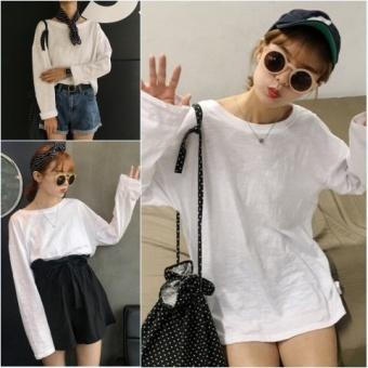 Women's basic models loose Slimming effect round neck simple models T-shirt