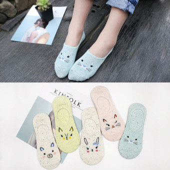 Women's Korean-style Invisible 100% Cotton No Show Socks ([Points] five pairs of dress paragraph yarn)