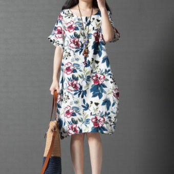 Xia Xinhan version of cotton linen floral mid-length dress