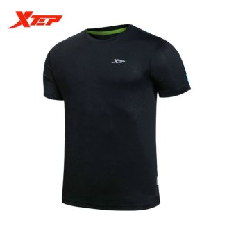 XTEP Men Workout T-shirts Elastic Breathable Fitness Shirts (Black)