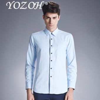 YOZOH Men Shirt Male Dress Shirts Men'S Fashion Casual Long Sleeve Business Formal Shirt Social Masculina - intl