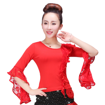 Yun Shang New style lace Latin dance square dance clothing long-sleeved Top (S36 red Top)