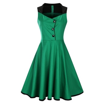 Zaful Woman Vintage Dress Spring And Summer Color-Block Elegant Style V-Neck And Sleeveless Design Retro Fit&Flare Dress Evening Party Demitoilet - intl