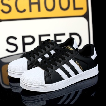 Harga ZANT Classic Inspired Superstar Sneakers Canvas Shoes Black-White - intl