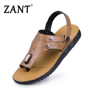 Harga ZANT Men Sandals Men Shoes 2017 New Fashion Pu Cozy Mens Flip Flop Sandals Shoes Men Yellow - intl