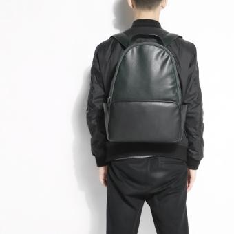 Zara Man faux leather large backpack ( black x army green )