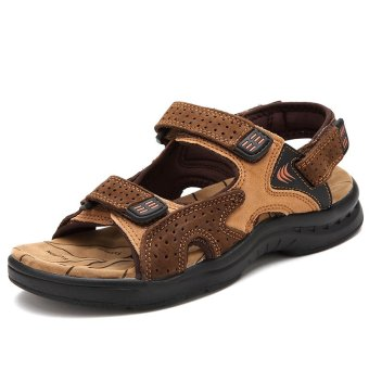 ZNPNXN Leather Men'sFashion Shoes Sandals(Brown)