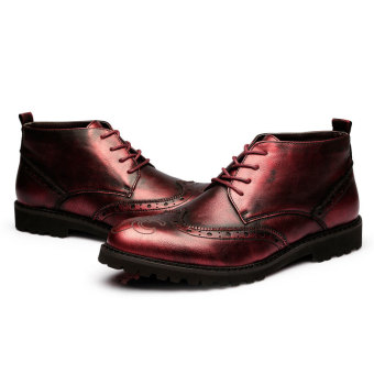 ZNPNXN Men's Fashion Ankle Boots (Red) - 3