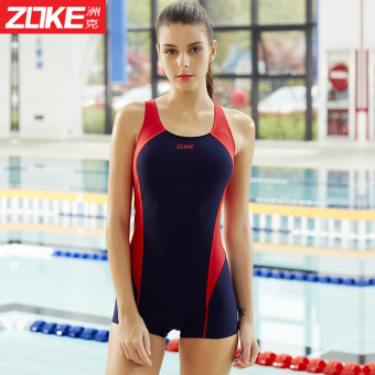 Zoke professional swimsuit female siamese boxer swimsuit smallchest was thin conservative 2016 new women's training andcompetition swimwear (Dark blue/red _ 4)