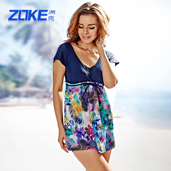 Zoke swimsuit piece skirt type female cover the belly Slimming effect Plus-sized conservative swimming clothing fashion women's bubble Hot Spring swimsuit (Deep Purple gray flower group-2)