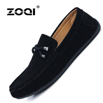 Harga ZOQI man's Slip-Ons&Loafers fashion cow suede leatherShoes(Black) - intl