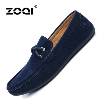 Harga ZOQI man's Slip-Ons&Loafers fashion cow suede leatherShoes(Blue) - intl