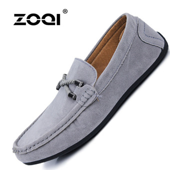 Harga ZOQI man's Slip-Ons&Loafers fashion cow suede leatherShoes(Grey) - intl