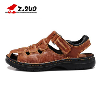 Z???Suo Stylish men summer sandals and slippers men's shoes (ZS802 Brown)