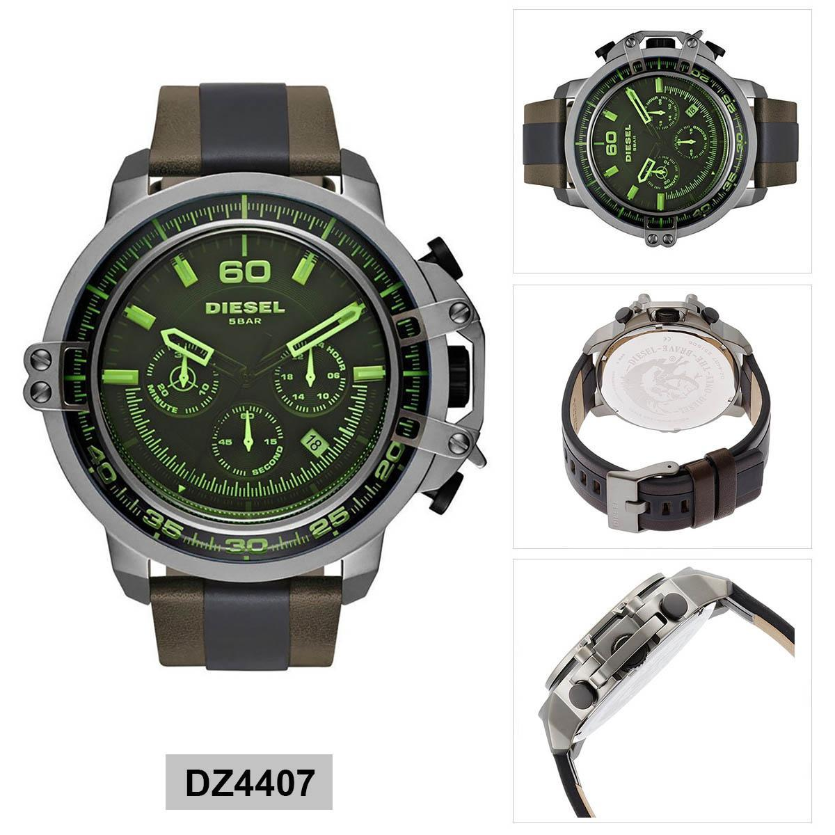 ยี่ห้อนี้ดีไหม  พระนครศรีอยุธยา Authentic Diesel Deadeye Chronograph Multicolored Stainless-Steel Case Leather Strap Mens DZ4407 2 Years Warranty