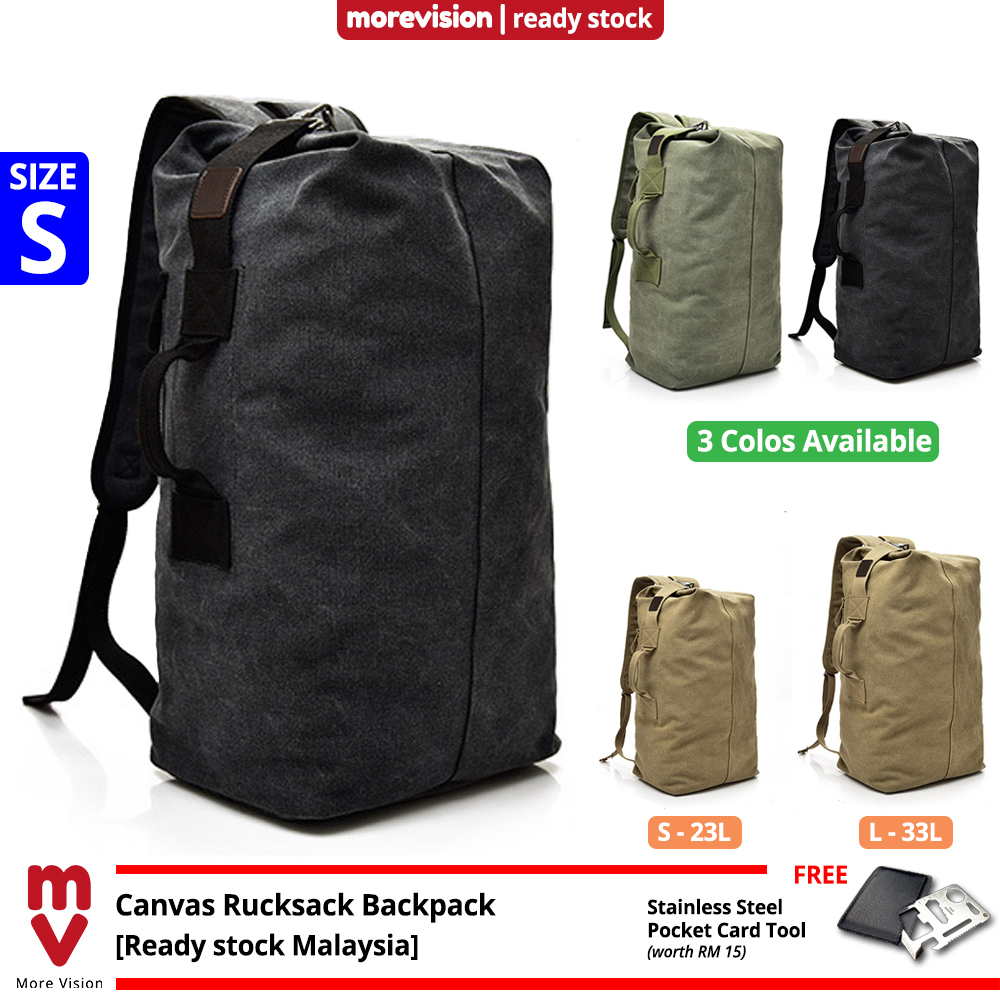 MV Bag Canvas Sports Backpack Beg Men Large Korean Rucksack Army Military Tactical Outdoor Travel MI5921