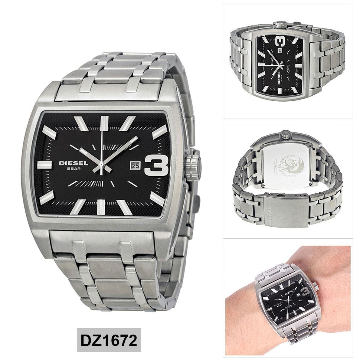 ยี่ห้อไหนดี  ปทุมธานี Authentic Diesel Silver Stainless-Steel Case Stainless-Steel Bracelet Mens DZ1672 2 Years Warranty