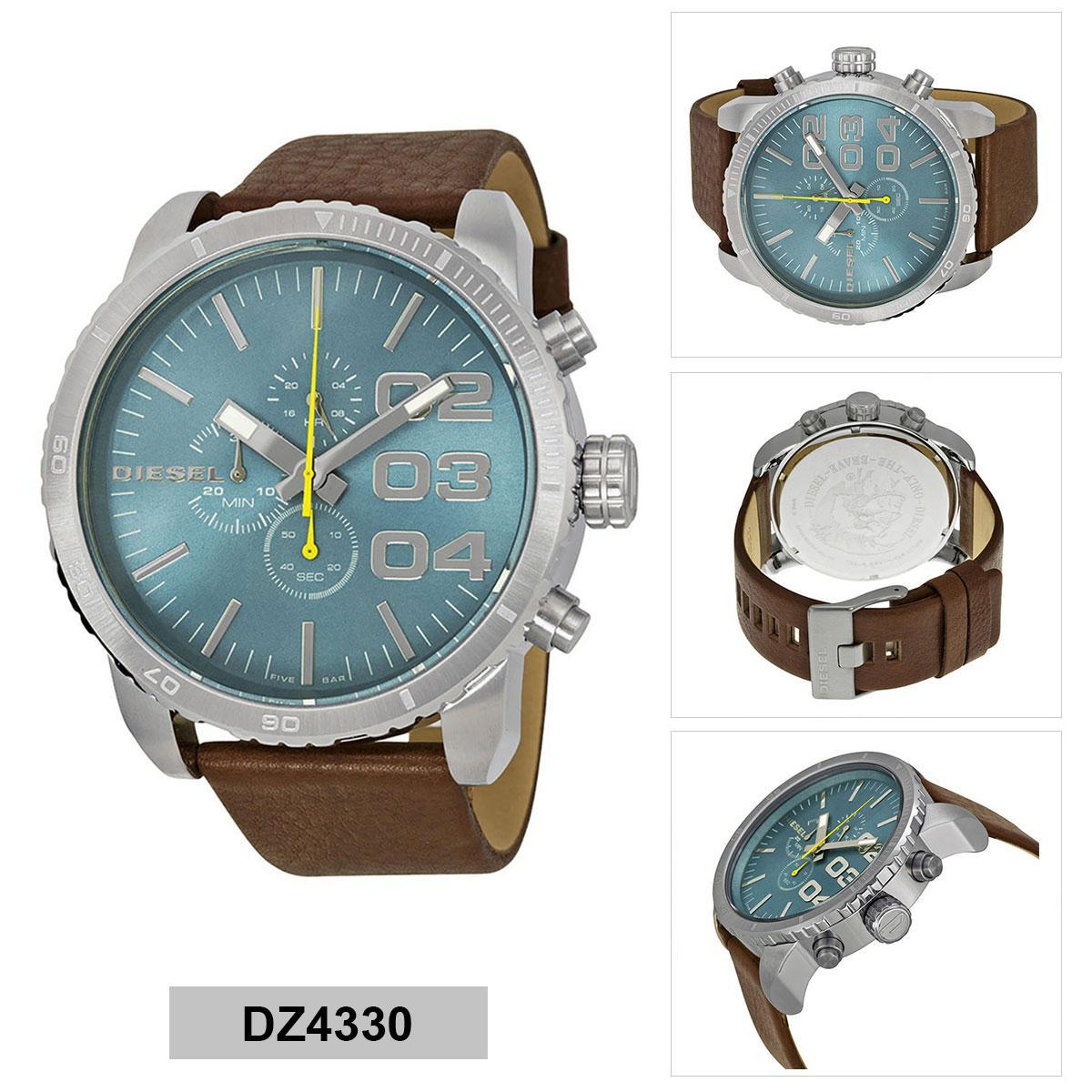 สอนใช้งาน  ตรัง Authentic Diesel Brown Stainless-Steel Case Leather Strap Mens DZ4330 2 Years Warranty
