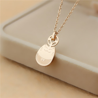 18k lucky cat pendant titanium steel birthday gift clavicle chain