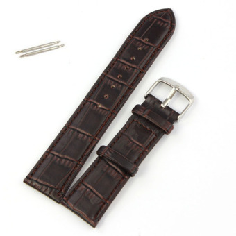22mm Soft Genuine Leather Strap Steel Buckle Wrist Watch Band Brown