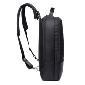 3-way Business Style Laptop Backpack Also Messenger Bag and Handbag- Black - 4