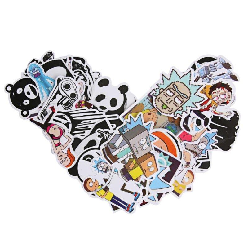 60 pcs Multicolor Creative Doodle Cartoon Suitcase Car Sticker(Multicolor)-C - intl