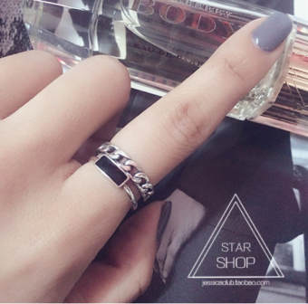925 sterling silver chain double ring female influx of people wild Cool finger ring punk Stylish Korean jewelry