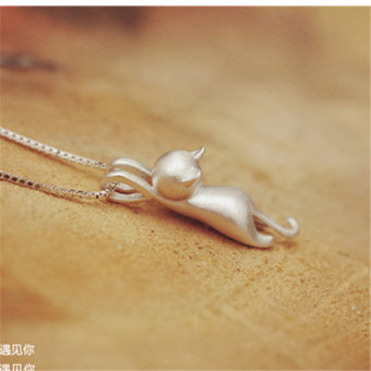 925 sterling silver little kitty necklace female models pendant short paragraph clavicle chain sweet Japan and South Korea jewelry to send his girlfriend girlfriends