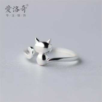 A'ROCH women's cat ring silver ring