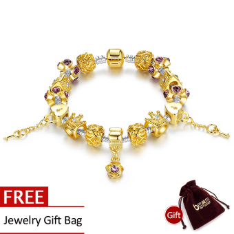 BAMOER 14K Gold Plated Strand Bracelet with Crown Charm for Women With Murano Glass Beads Birthday