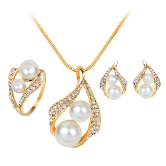 BolehDeals Wedding Party Jewelry Set Faux Pearl Crystal Ring Earrings Necklace Gold Hot(Export)