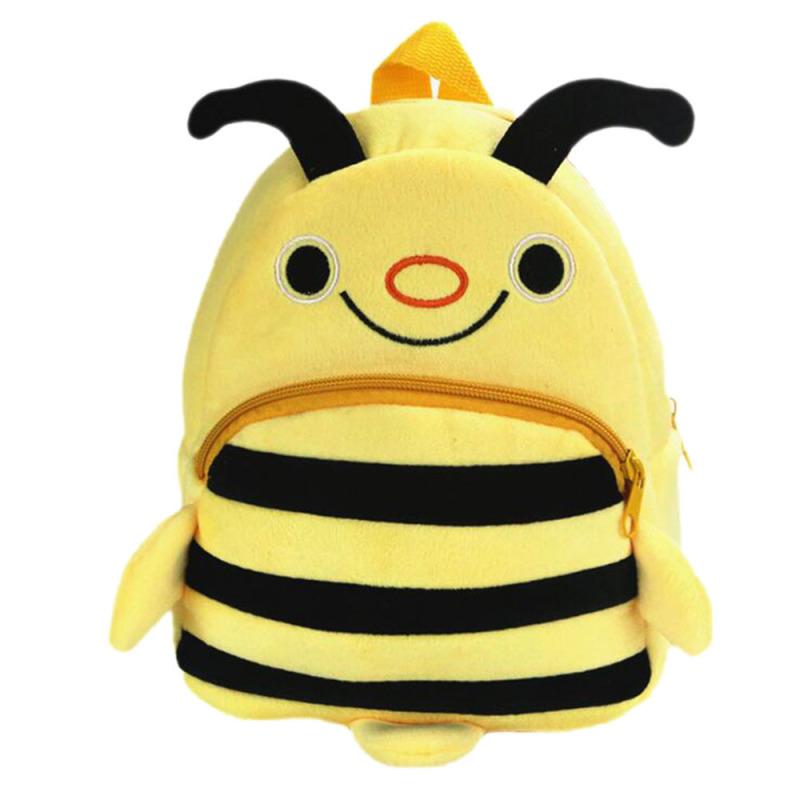 Cartoon Animal Pattern Kids Child Small Soft Plush Schoolbag School Bag Backpack Yellow Bee