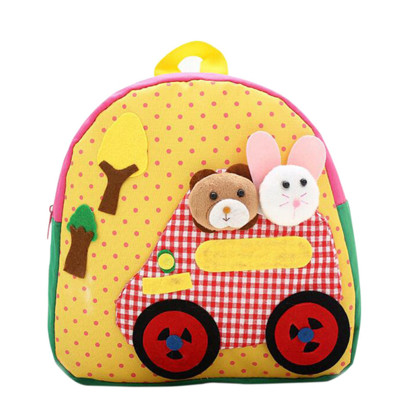 Cartoon Rabbit and Bear Pattern Handmade Kids Child Small Oxford Cloth Schoolbag School Bag Backpack Yellow