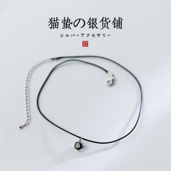 Cat sting black European and American neck strap collar Cool leather cord s925 sterling silver black diamond cat necklace simple silver jewelry