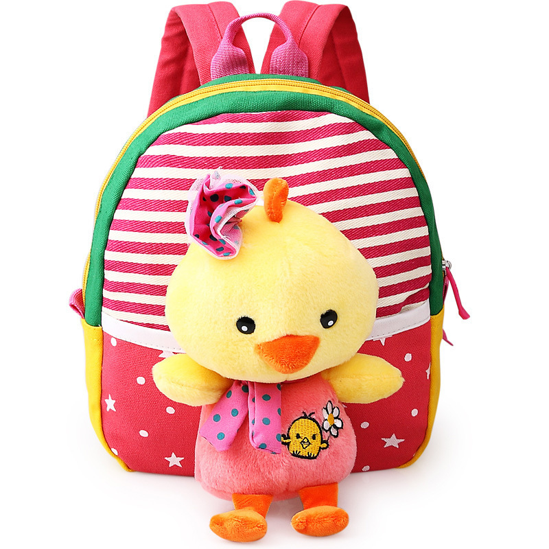 Childrens school bags for boys and girls in kindergarten kids 1-3 years baby bag cute backpack Red chick