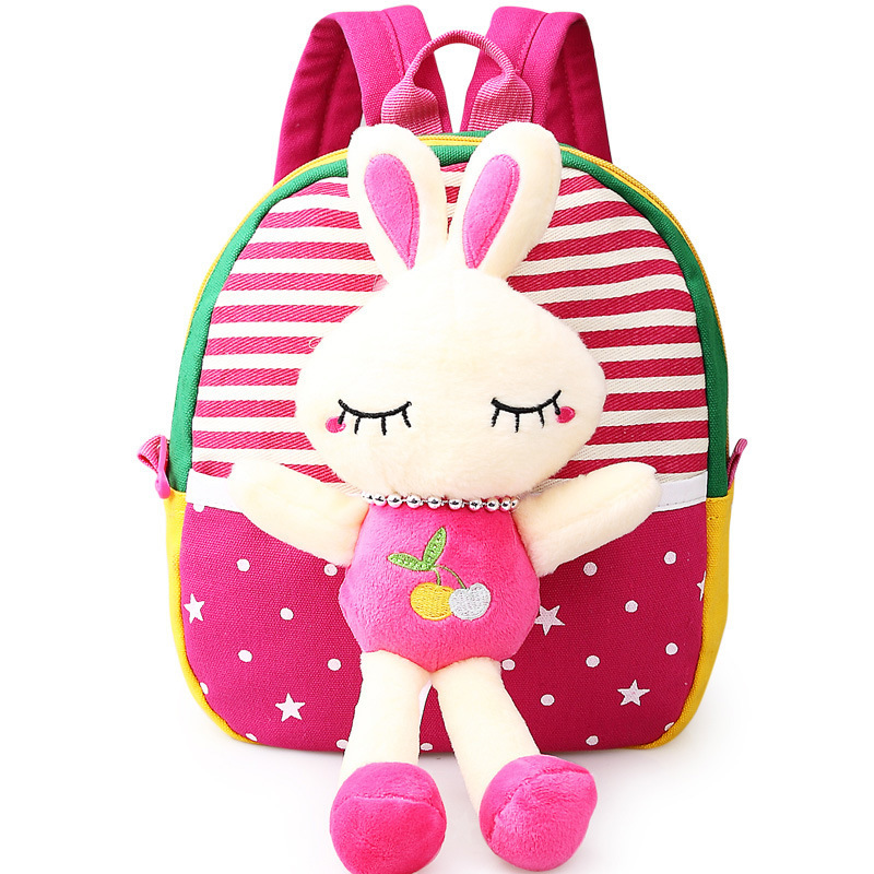 Childrens school bags for boys and girls in kindergarten kids 1-3 years baby bag cute backpack Red Rabbit
