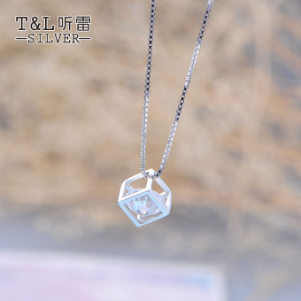 Cube square hollow cube sets of chain pendant clavicle chain