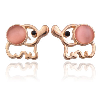 Fashion Ladies Cute Gold Plated Pink Opal Elephant Earrings EarStuds