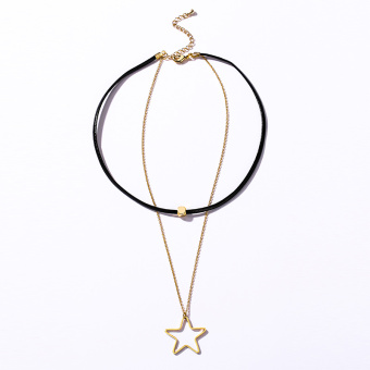 Female leather cord Double Star European and American metal black strap