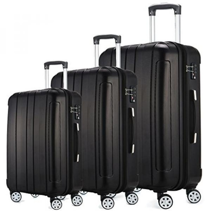 Fochier Luggage 3 Piece Expandable Spinner Set with TSA Lock - intl
