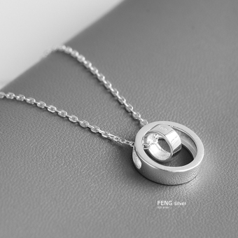 Free lettering 925 sterling silver necklace female Japanese and Korean fashion double ring pendant bicyclic student clavicle chain to send his girlfriend