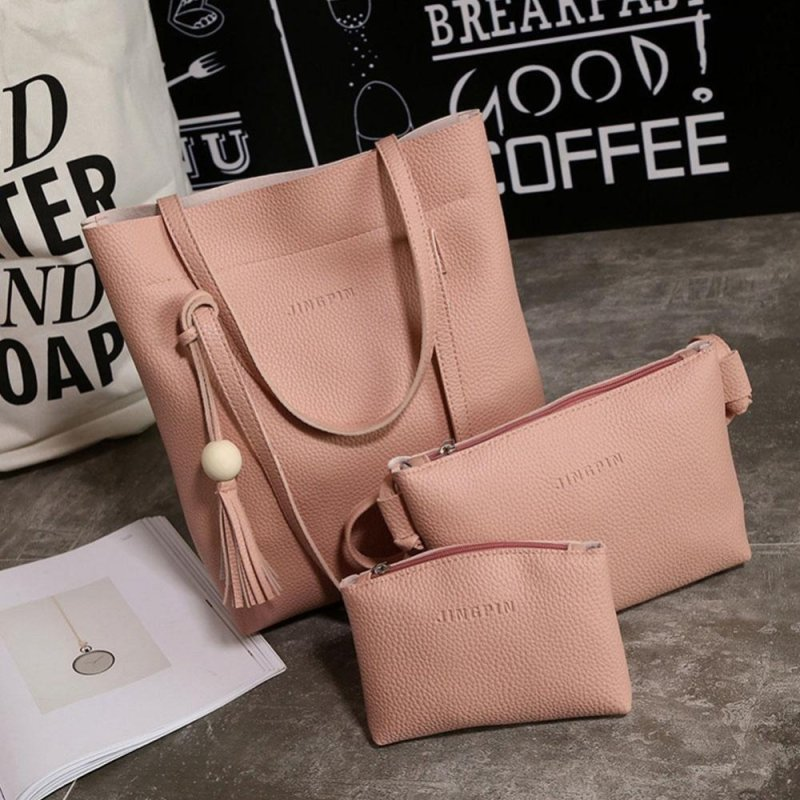 Go Go Store Women New Fashion PU Wallet Purse Tote Three-Piece Cosmetic bag Bag Handbag Pink - intl