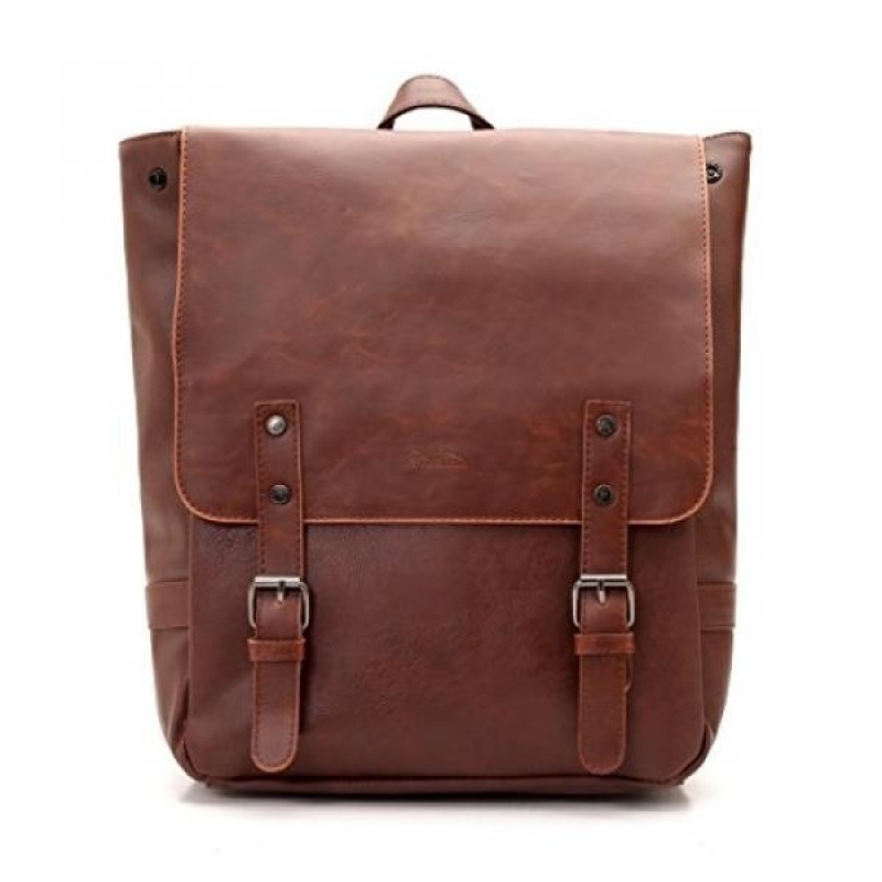 Good&god Pu Crazy Horse Leather-Like Vintage Womens Backpack School Bag - intl