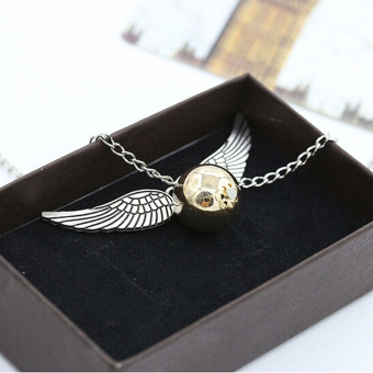 Hanyu Harry Potter Golden Snitch Quicksilver Golden Pearl Necklace - 4