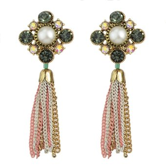Punk Rock Style Rhinestone Long Tassel Earrings for Women